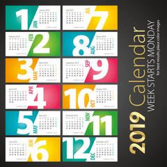 New Year 2019 Desk Calendar monthly negative space numbers cut off sideways color landscape background
