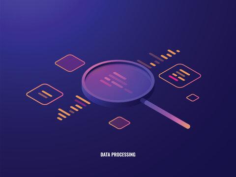 Data processing isometric icon, business analytics and statistics, magnifying glass, data visualization, infographic dark neon