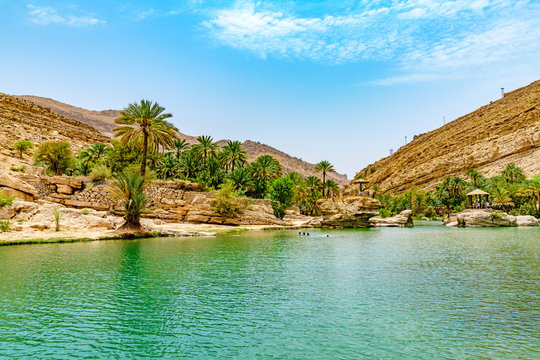 Wadi Bani Khalid in Oman. It is located about 203 km from Muscat and 120 km from Sur.