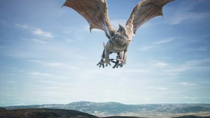 Big dragon flying over desert. 3D Rendering