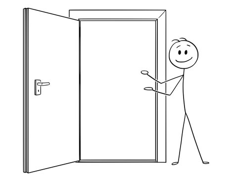 Cartoon stick drawing conceptual illustration of man or businessman inviting to go through open door.
