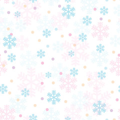 Pink blue Christmas snowflakes seamless pattern. Great for winter holidays wallpaper, backgrounds, invitations, packaging design projects. Surface pattern design.