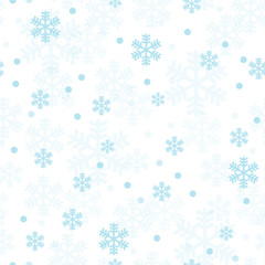 Pastel blue Christmas snowflakes seamless pattern. Great for winter holidays wallpaper, backgrounds, invitations, packaging design projects. Surface pattern design.