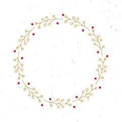 Christmas wreath Round Frames set hand drawn doodles. Vector illustration