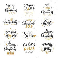 Merry Christmas Calligraphic Letterings Set. Typographic Greetings Design. Calligraphy Lettering for Holiday Greeting. Hand Drawn Lettering Text Vector illustration