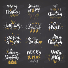 Merry Christmas Calligraphic Letterings Set. Typographic Greetings Design. Calligraphy Lettering for Holiday Greeting. Hand Drawn Lettering Text Vector illustration on chalkboard background