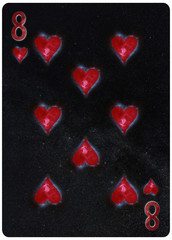 Eight of Hearts playing card Abstract Background
