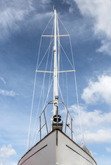 Sailboat prow. Low angle front view