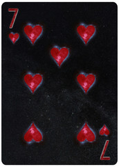 Seven of Hearts playing card Abstract Background