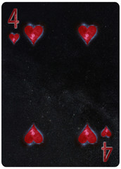 Four of Hearts playing card Abstract Background