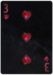 Three of Hearts playing card Abstract Background