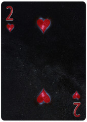 Two of Hearts playing card Abstract Background
