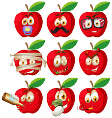 Set of apple face
