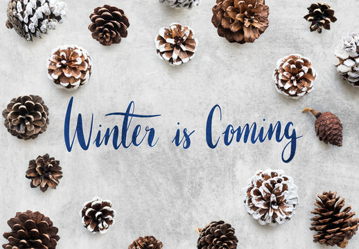 Winter season typography design mockup