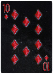 Ten of diamonds playing card Abstract Background