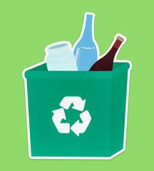 Glass in a green recycling bin