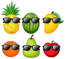 Set of tropical fruit