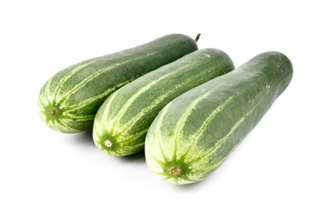 Fresh cucumber, chopped cucumber, salad ingredient,isolated on white background.