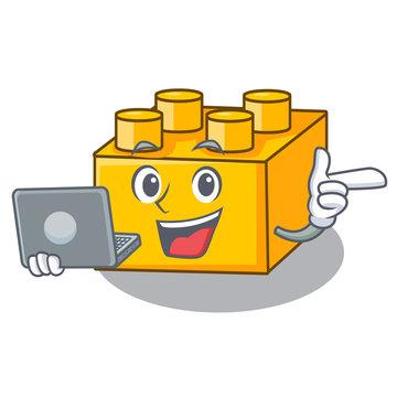 With laptop plastic building blocks cartoon on toy