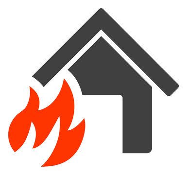 House fire disaster icon on a white background. Isolated house fire disaster symbol with flat style.