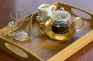 Hot tea on a tray