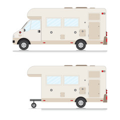 Set of retro camper trailer collection.