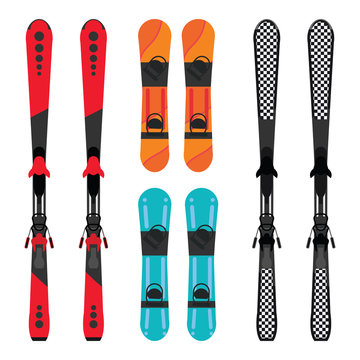 Set of snowboard and skis equipment.