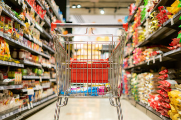 Close up cart in super market department store shopping