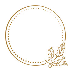 Vintage Christmas vector frame with holly decoration