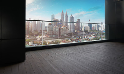 Fotomurales - Black wall and wood floor balcony with Kuala Lumpur city background .