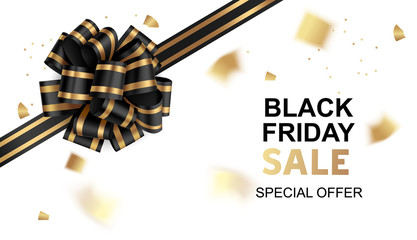 Wall Mural - Black friday sale card template design. Vector illustration. Holiday background with black bow and gold confetti