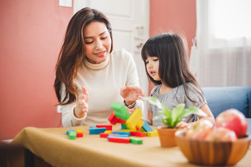 Girl daughter playing blocks toy with mother, happy family concept