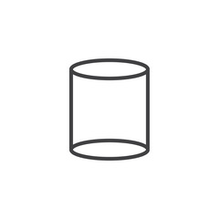 Cylinder geometrical figure outline icon. linear style sign for mobile concept and web design. Cylinder geometric shape simple line vector icon. Symbol logo illustration. Pixel perfect vector graphics