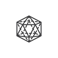 Icosahedron geometrical figure outline icon. linear style sign for mobile concept and web design. Icosahedron geometric shape simple line vector icon. Symbol, logo illustration. Pixel perfect vector
