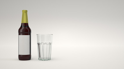 Mock up of beer bottle and an empty glass