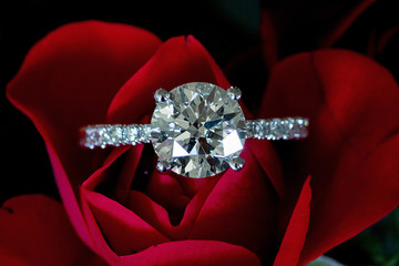 Platinum Diamond Ring On Red Rose (Hearts & Arrows)