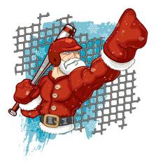 Santa Claus Playing Baseball & Calling His Shot