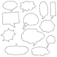 Various types of handwritten style speech bubble set