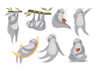 Lazy tropical sloth collection.