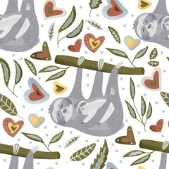 Seamless pattern with sloths in flat style.