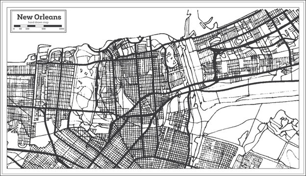 New Orleans Louisiana USA City Map in Retro Style. Outline Map.