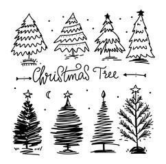 Christmas tree vector set. Hand drawn vector illustration.