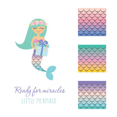 Cute mermaid with birthday present box and scale pattern set. Vector illustration.