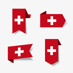 Swiss flag stickers and labels. Vector illustration.