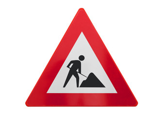Traffic sign isolated - Under construction