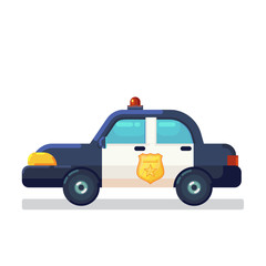 Aluminium Prints Cartoon cars Car Icon Stock. Vector flat Illustration police car side view isolated on white