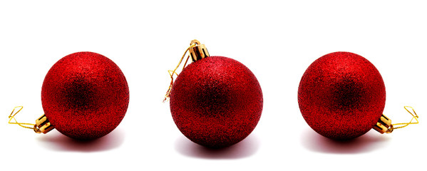 Collection of photos christmas decoration red ball  isolated on a white