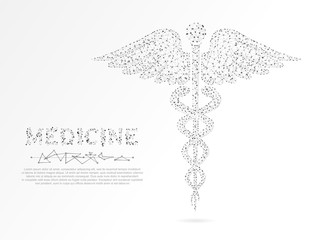 Caduceus health symbol. Low poly wireframe illustration. Vector polygonal image, consisting of points, lines, and shapes in the form of stars, triangles with destructing shapes on white background