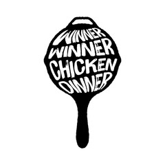 Winner Winner Chicken Dinner Typography on a Pan vector illustration, Playerunknown's Battleground vector illustration, PUBG winne