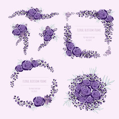 Purple floral frame for invitation cards and graphics.